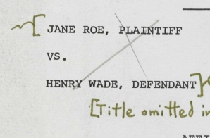 Affidavit of Jane Roe in Roe v. Wade