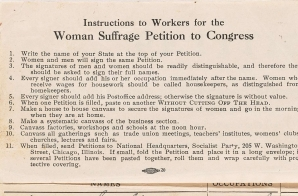 Woman Suffrage Petition with Petition Drive Instructions