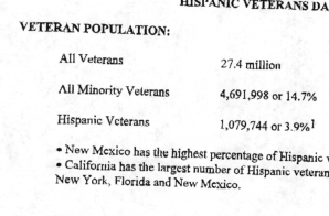 Department of Veteran Affairs Hispanic Veterans Data