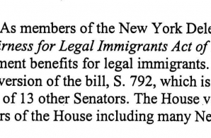 Letter from New York Congressman about Immigration Rights