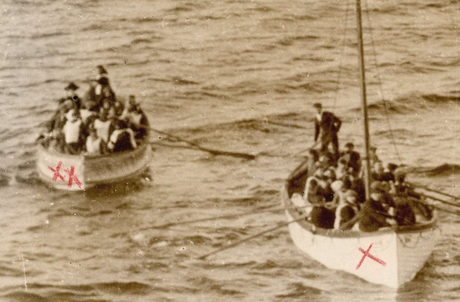 Photograph of Two Lifeboats Carrying Titanic Survivors