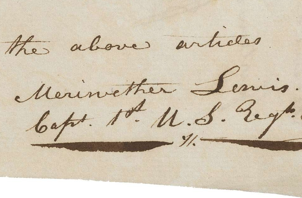 Receipt for 130 Rolls of Pigtail Tobacco Purchased by Meriwether Lewis for the Expedition to the West