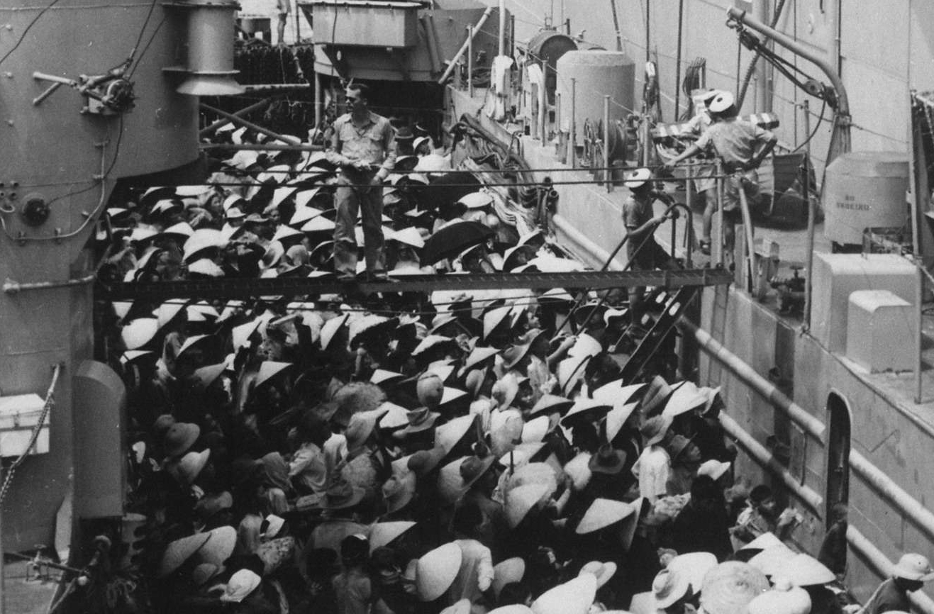 Vietnam Refugees Wait to Board the USS Montague