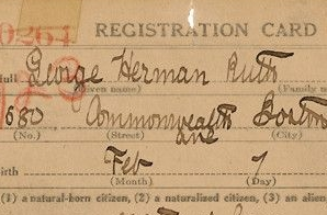 Draft Registration Card for George Herman Ruth