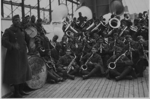 African American Jazz Band on the Deck of a Ship.