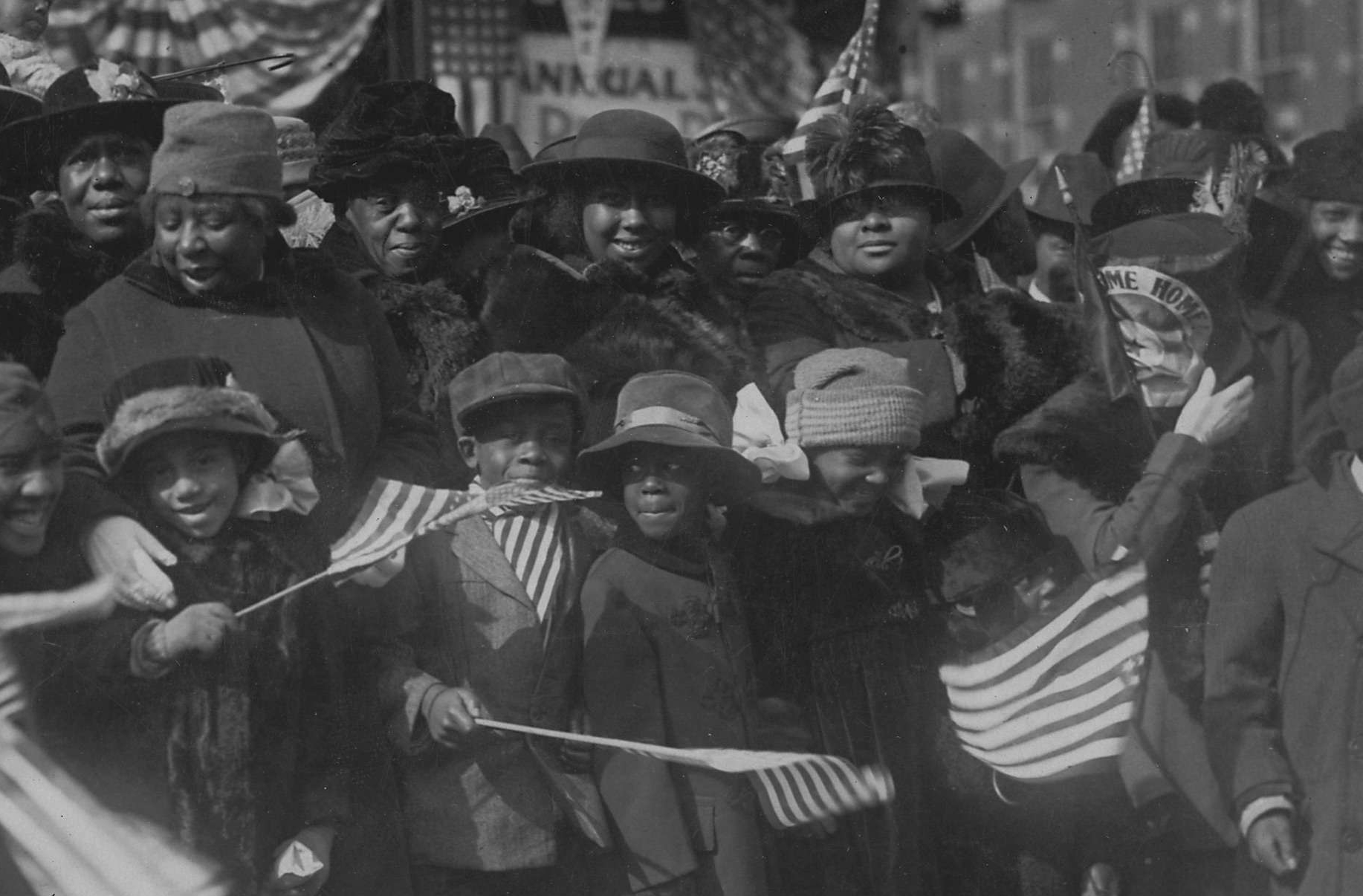 Children Gather to Welcome Home Their Daddies of the 369th Regiment