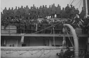 Famous African American regiment arrives home from France in Hoboken, New Jersey