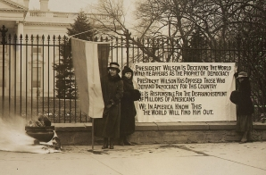 Pro-suffrage Bonfire and Posters at the White House