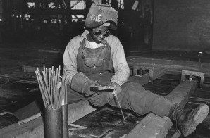 Welder-trainee Josie Lucille Owens Plies Her Trade on the Liberty Ship SS George Washington Carver