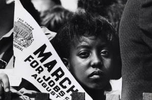 Girl at the March on Washington with Banner