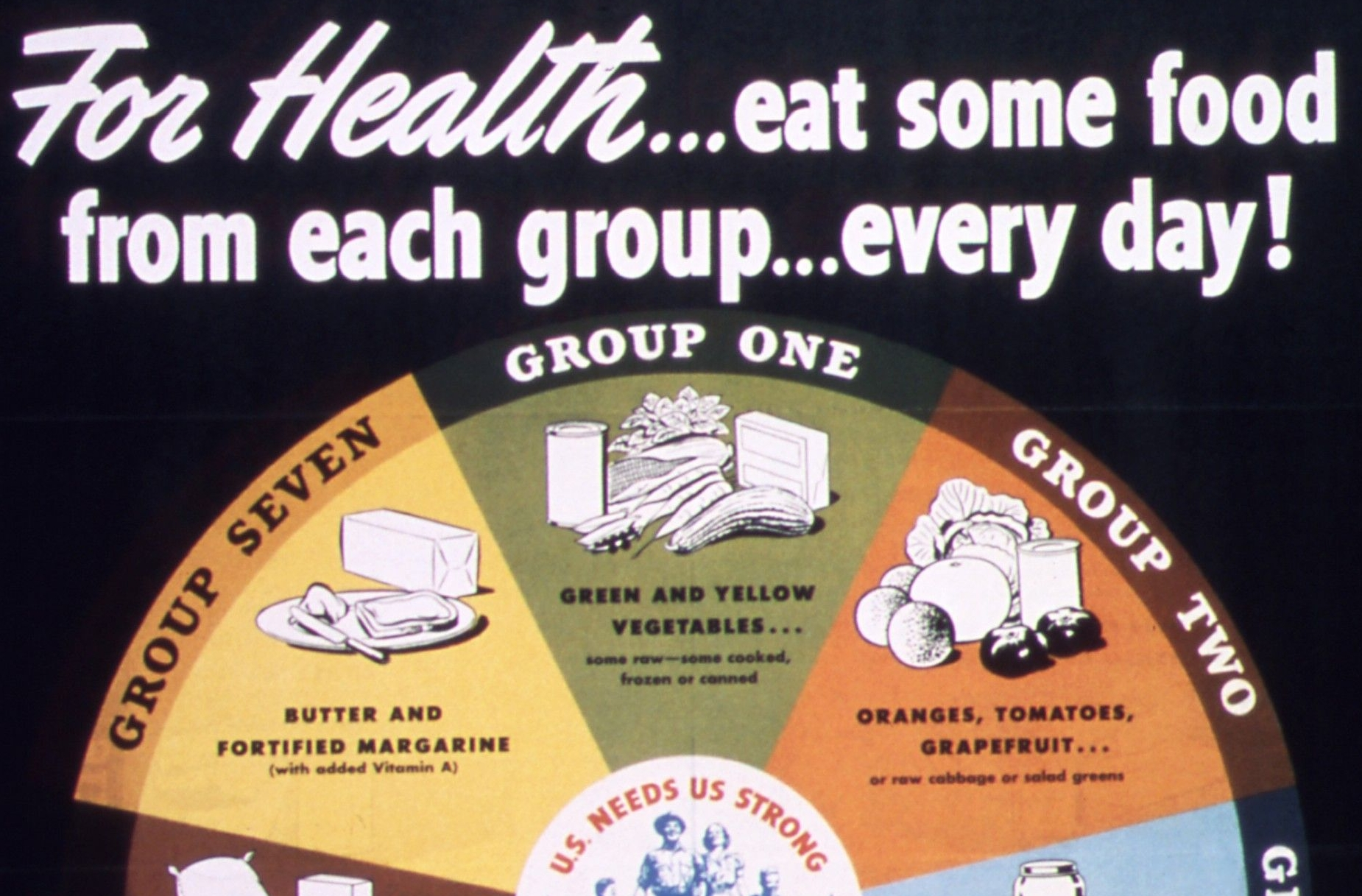 """For Health...eat some food from each group...every day!"""