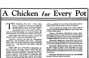 """A Chicken in Every Pot"" political ad and rebuttal article in New York Times"