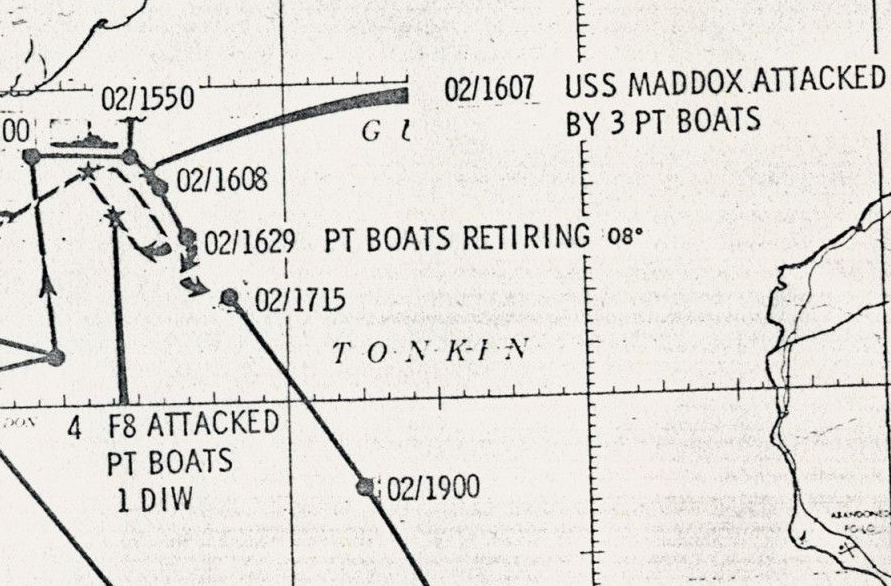 Map of the USS Maddox Incident