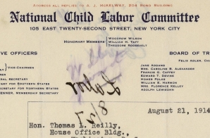 Letter from National Child Labor Committee Regarding Child Labor Reform