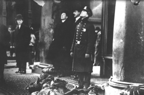 Police Officers, Civilians and Victims on the Sidewalk During the Triangle Shirtwaist Factory Fire