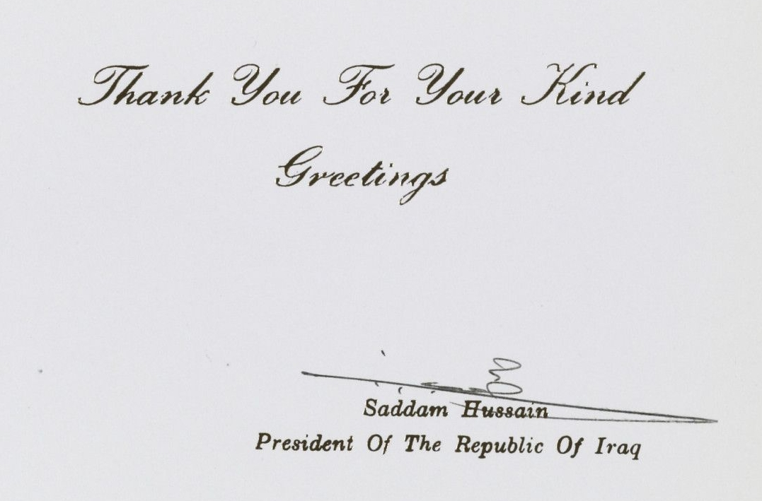 Card from Saddam Hussein to George H. W. Bush