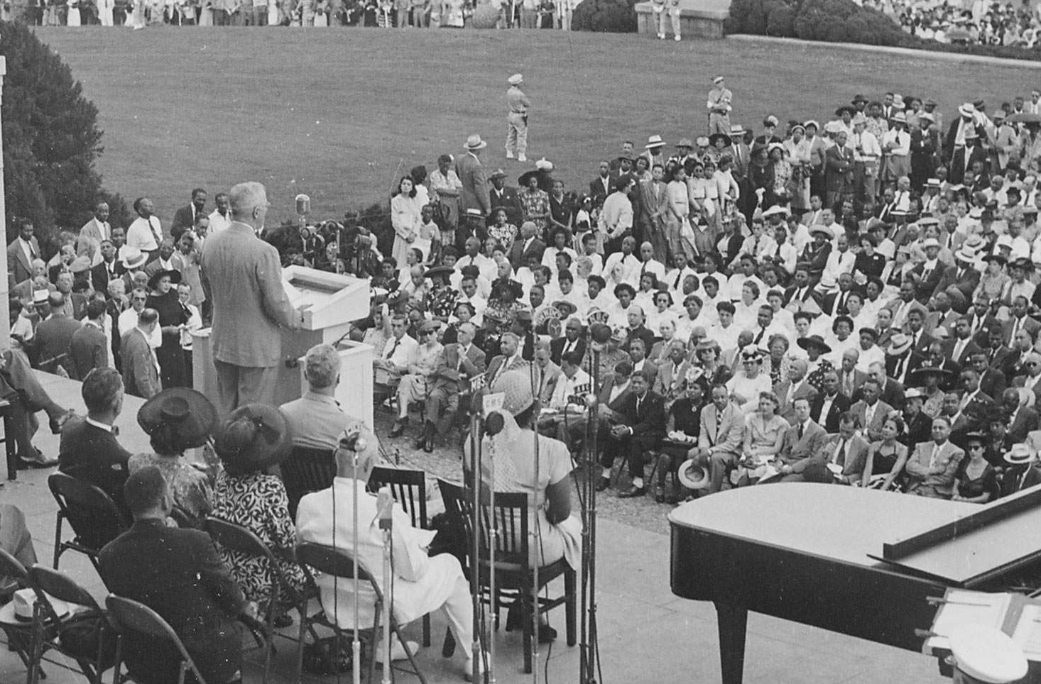 Truman Speaking at the Lincoln Memorial