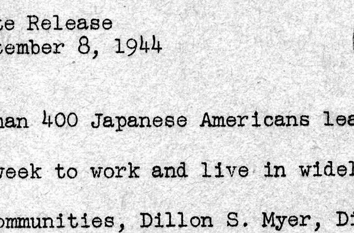 """More than 400 Japanese Americans Leave Relocation Centers"""