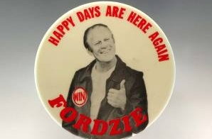 Campaign Button with President Ford as Fonzie
