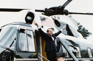 President Nixon Departing the White House for the Last Time