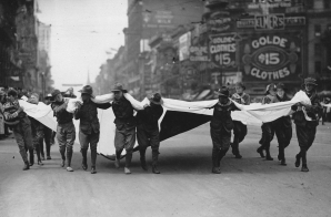 Catching Contributions in Flag during Red Cross Parade, Detroit, Mich.