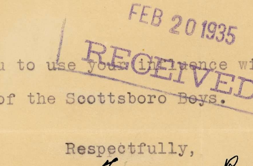 Letter from New Deal Girls Social Club to Eleanor Roosevelt about the Scottsboro Boys