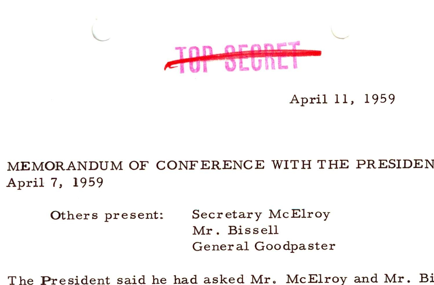 Memorandum of Conference with President  Eisenhower