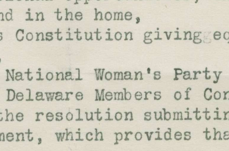 Letter from the Delaware Branch of the National Woman