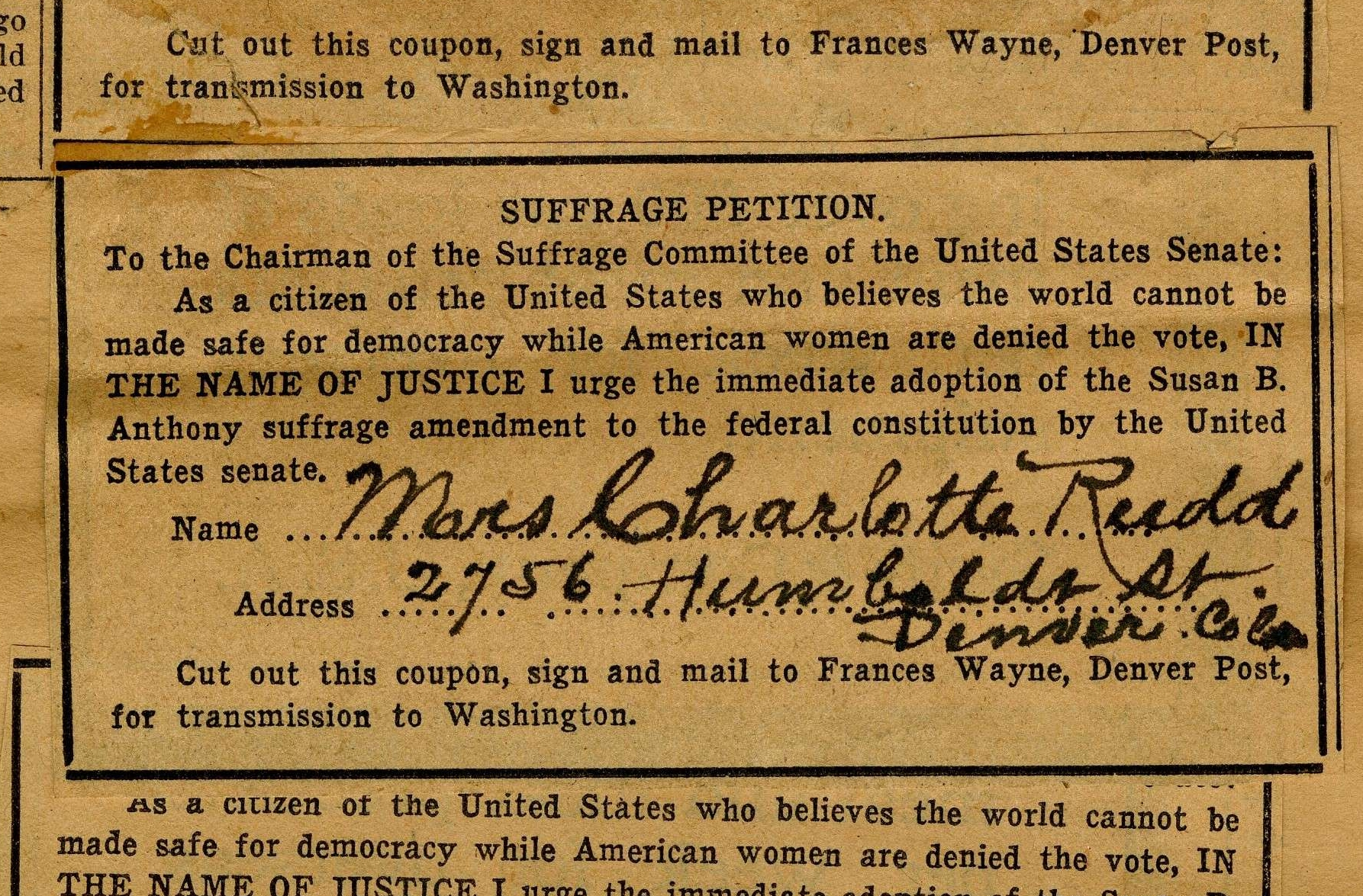 Denver Post Suffrage Petitions