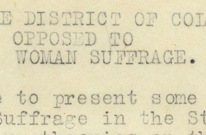 Statement of the District of Columbia Association Opposed to Woman Suffrage