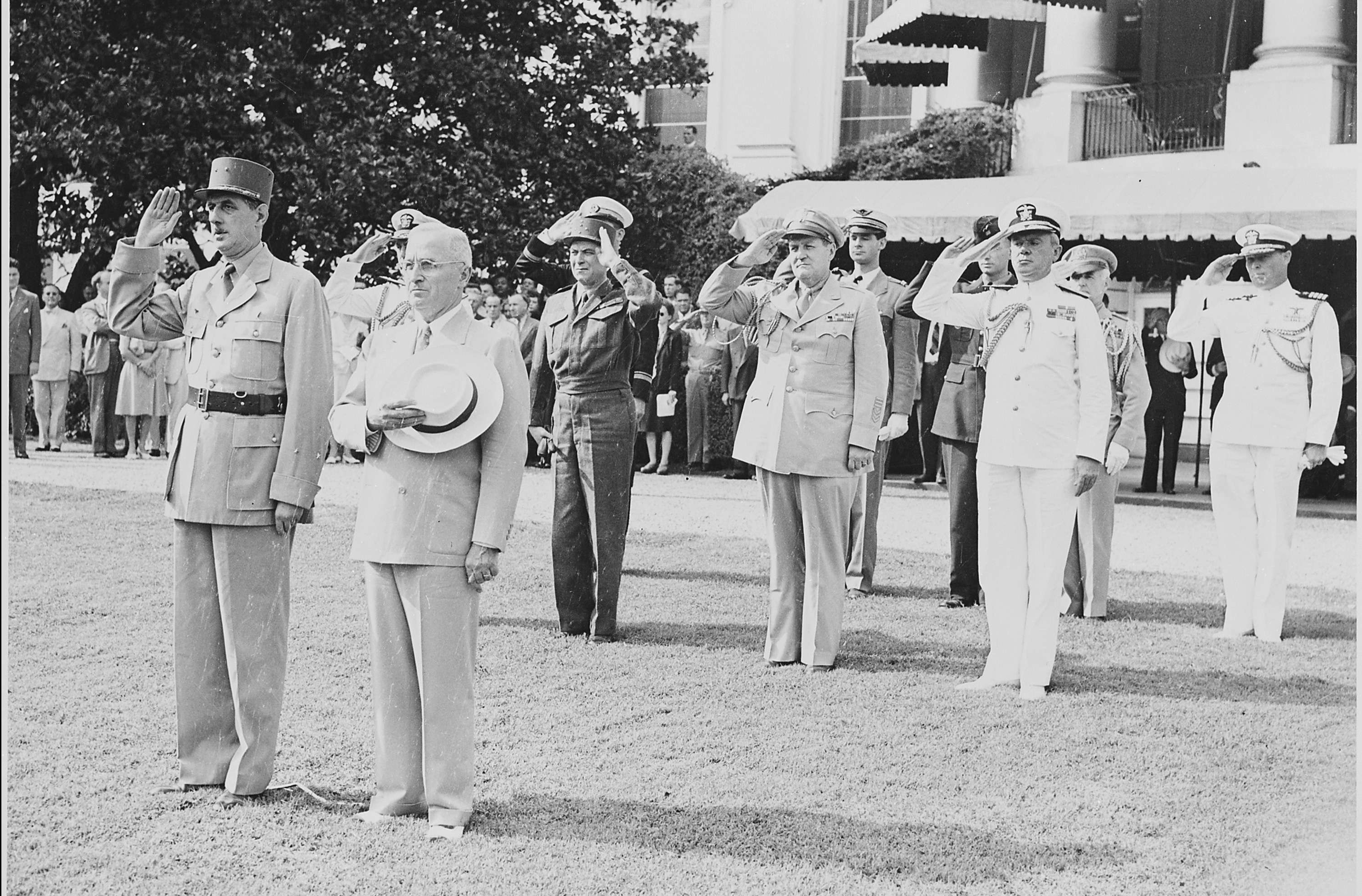Truman and President de Gaulle During Welcoming Ceremonies