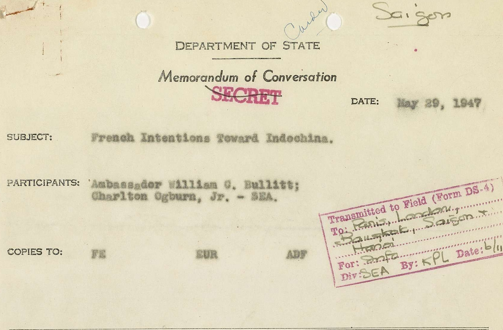 Memorandum of Conversation Between Ambassador William G. Bullitt and Charlton Coburg