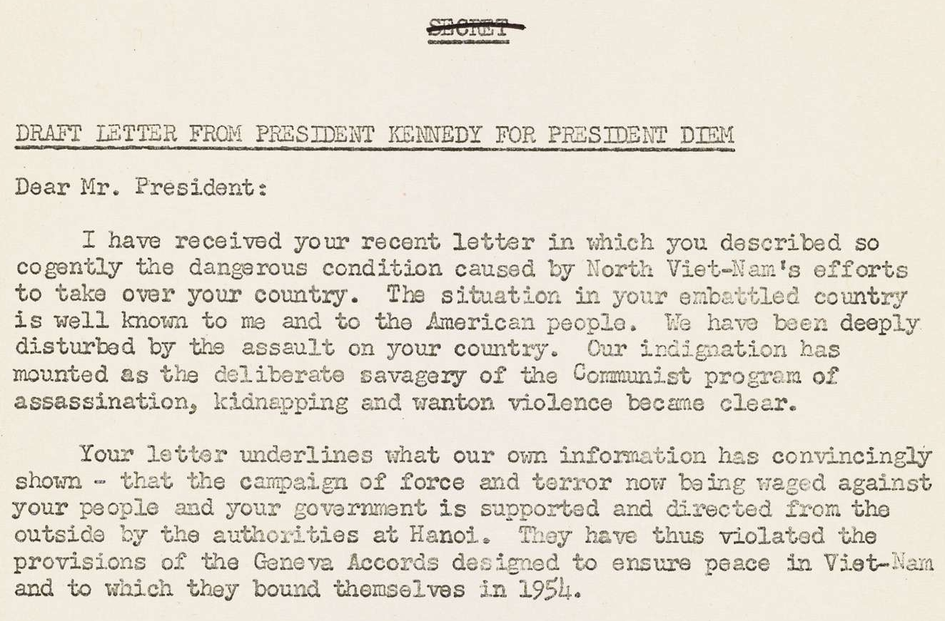 Draft Letter from President Kennedy to President Diem