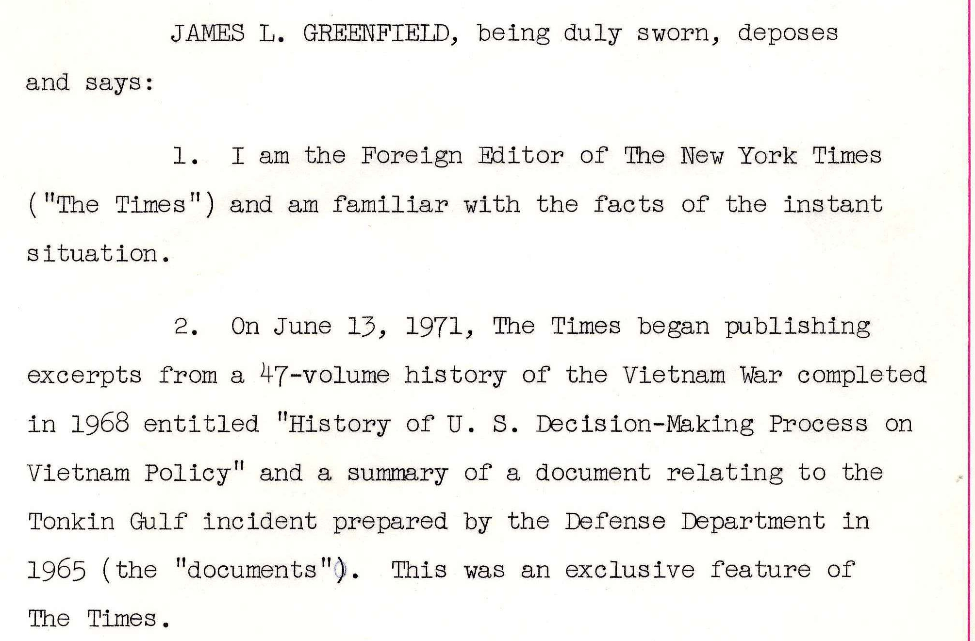 Affidavit of James L. Greenfield