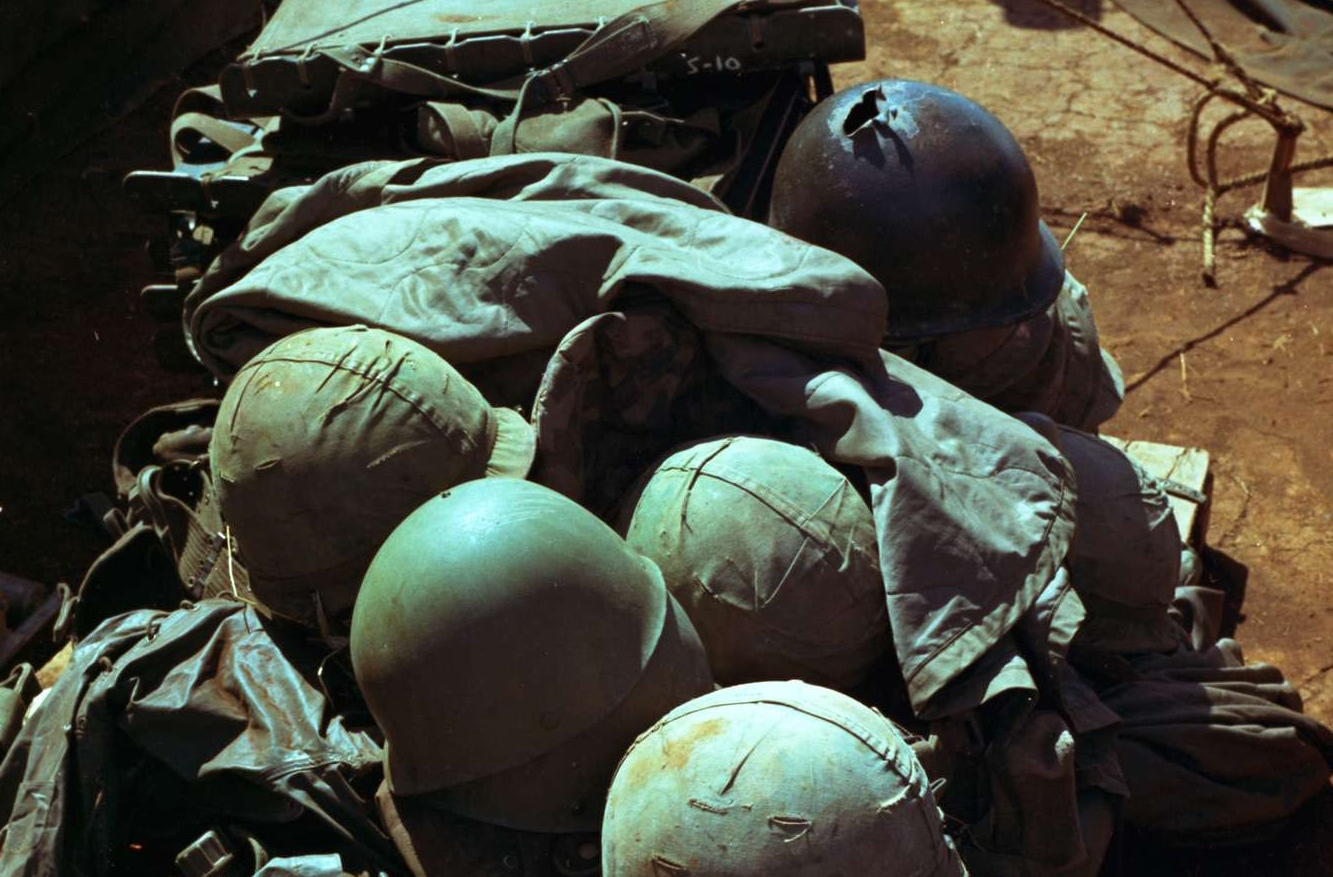 Helmets and Field Equipment From 1st Cavalry Division Casualties