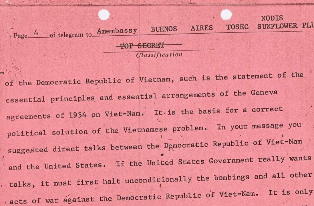 State Department Telegram Text of a Letter from Ho Chi Minh to President Johnson