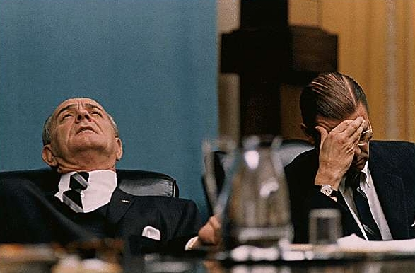 President Johnson and Secretary of Defense Robert McNamara at a Cabinet Meeting