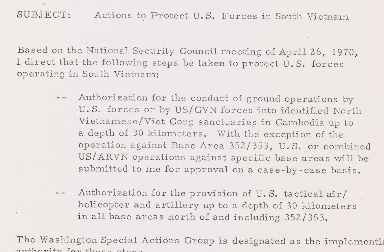 National Security Decision Memorandum 57: Actions to Protect U.S. Forces in South Vietnam