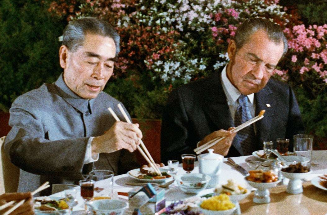 President Nixon Eating with Premier Chou En-lai