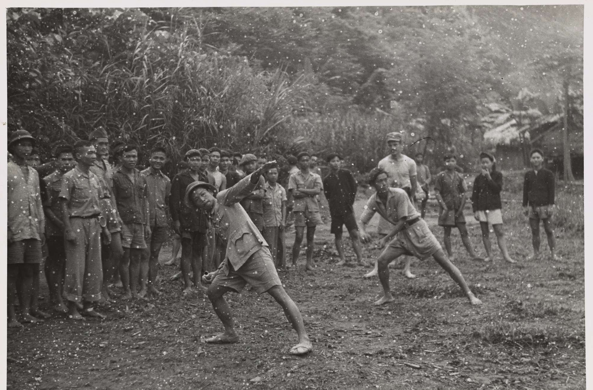 OSS Officers Watch as Viet Minh Practice Throwing Grenades